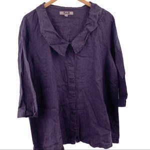 Flax dark grey button front 3/4 sleeve linen top L
